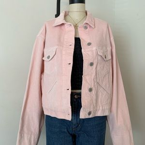 Brandy Melville Pink Corduroy button up jacket